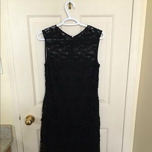 Beaded elegant black cocktail dress